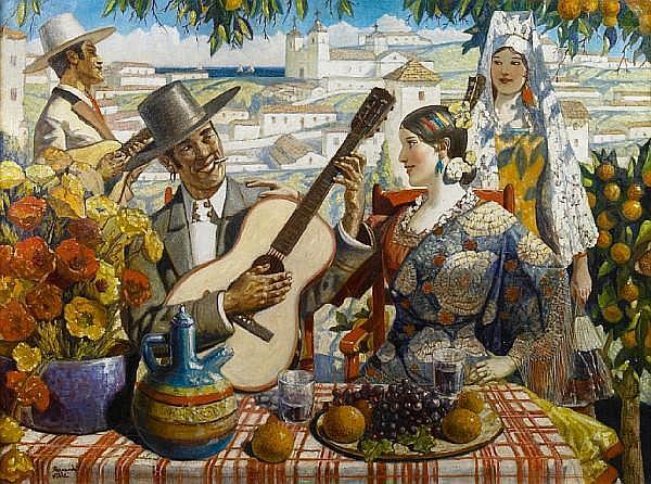 Hernando Gonzallo Villa (American, 1881-1952) Encore (A sweet serenade) 30 x 40in