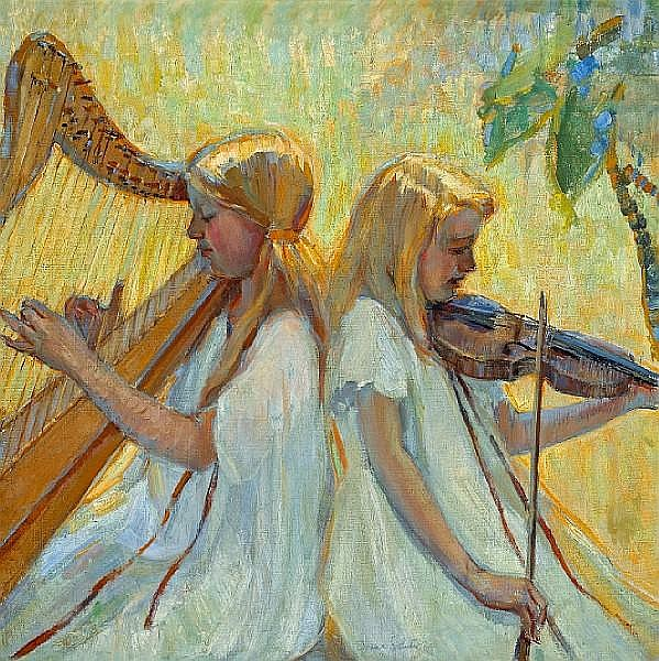 Donna N. Schuster (American, 1883-1953) The concert 36 x 36in