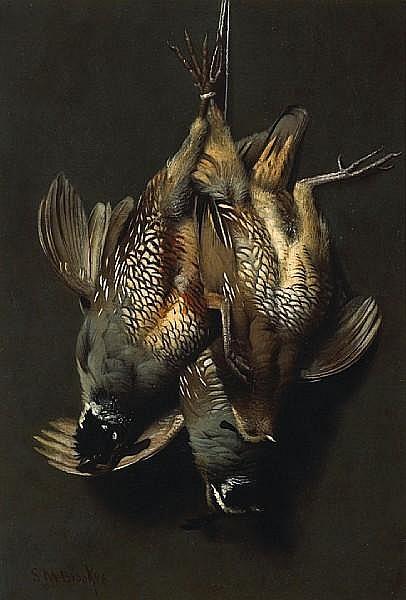 Samuel Marsden Brookes (American, 1816-1892) California quail, ca. 1875 17 1/4 x 12in