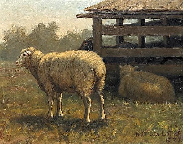 Matilda Lotz (American, 1858-1923) Barn scene, 1877 6 3/4 x 8 1/2in