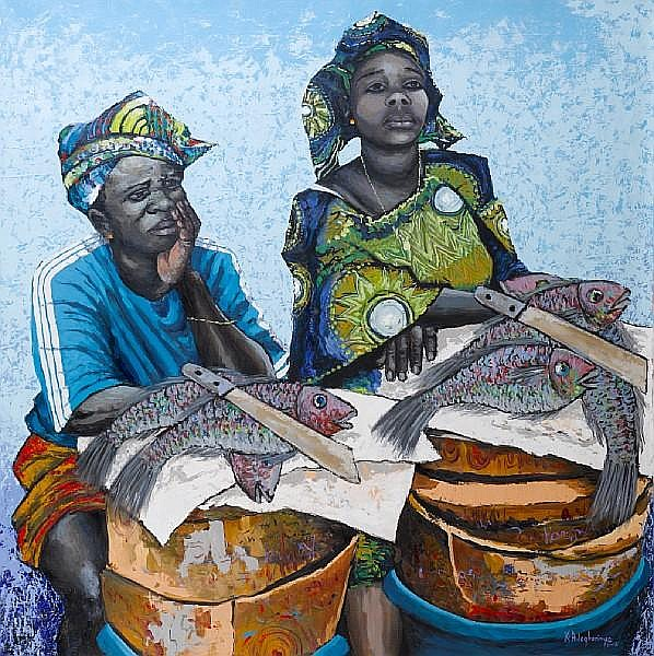 Kunle Adegborioye (Nigerian, born 1966) The fish sellers 61 7/16 x 62 5/8in (156 x 159cm) unframed