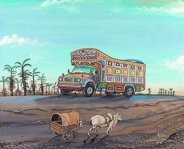 Richard Onyango (Kenyan, born 1960) Bedford truck (Truck series) 31 1/2 x 39 3/8in (80 x 100cm)