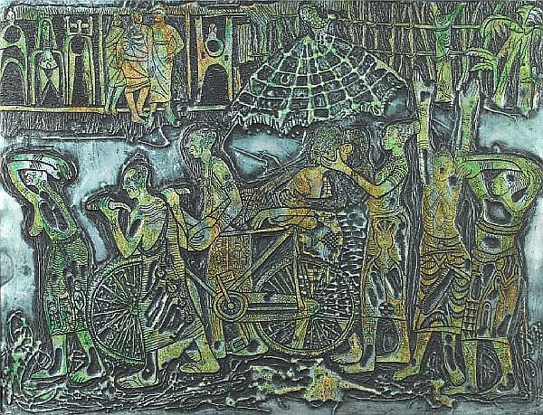 Bruce Onobrakpeya (Nigerian, born 1932) Rain and cry at Otorogba 18 1/2 x 24in (47 x 61cm)