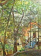 Karl Yens (American, 1868-1945) 'A Blue Footbridge to a Cabin in the Woods', 1910 13 3/4 x 9 1/2in, Karl Yens, Click for value