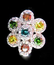 Fancy coloured Diamond & Gold Ring