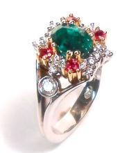 Emerald, Ruby & Diamond18k Gold Ring