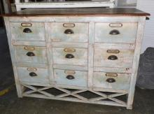 From Bali, Vintage 9 Spice Drawers W/Shell Handles