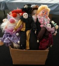 Box Lot Of 9 Collectible Clown Dolls