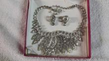 Vintage Eisenberg Clear Ice Necklace & Earrings
