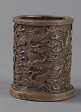 A CHINESE CARVED CRANE BRUSH-POT