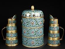 A SET OF CLOISONNE ENAMEL LIDDED BOX AND TIBETAN-STYLE EWERS