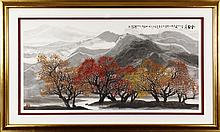 DU YINGQIANG: A FRAMED COLOR AND INK ON PAPER PAINTING 'GOLDEN AUTUMN'