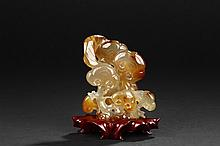 AN AGATE 'LINGZHI' CARVING