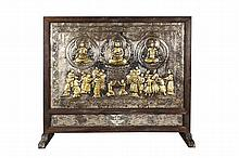 A SILVER AND GOLD GILT BRONZE 'BODHISATTVA AND WORSHIPERS' PLAQUE MOUNTED TABLE SCREEN