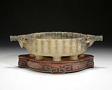 A VERY RARE CARVED JADE BRUSH WASHER WITH STAND