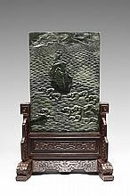 A CARVED SPINACH-GREEN JADE 'CRANE' RECTANGULAR TABLE SCREEN