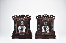 A PAIR OF CLOISONNE ENAMEL INLAID HONGMU 'ELEPHANT' TABLE SCREENS
