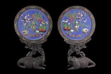 A PAIR OF CIRCULAR SCREEN INSET WITH JADE AND GEMS