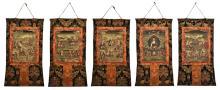 A SET OF FIVE TIBETAN THANGKA OF BODHISATTVAS