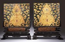 A PAIR OF SPINACH JADE GILT-DECORATED TABLE SCREENS