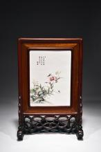 A RECTANGULAR FAMILLE ROSE 'FLOWERS' TABLE SCREEN