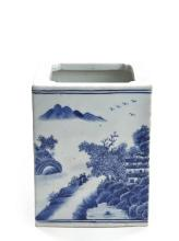 A RECTANGULAR BLUE AND WHITE 'LANDSCAPE' BRUSHPOT