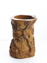 A HUANGYANGMU CARVED BRUSH POT