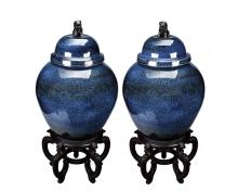 A PAIR OF LARGE BLUE GLAZED JARDINIERES WITH COVER