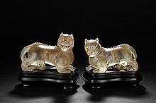 A PAIR OF CRYSTAL MYTHICAL BEASTS