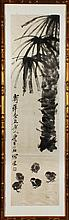 QI BAISHI: AN INK ON PAPER 'PALM TREE AND CHICKS'