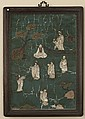 A CHINESE DECORATED PLAQUE OF PREACHERS