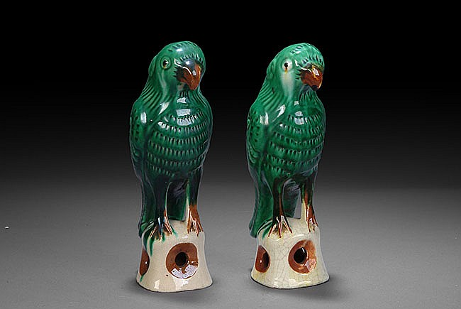 A PAIR OF SANCAI GLAZED PARROTS