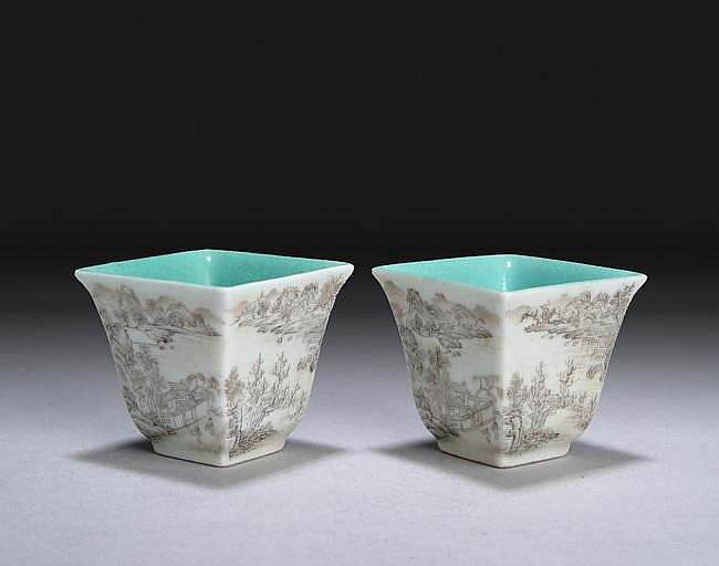 A PAIR OF GRISAILLE PAINTED SQUARE CUPS