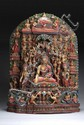 A GILT AND MULTI-COLORED BUDDIST CARVING