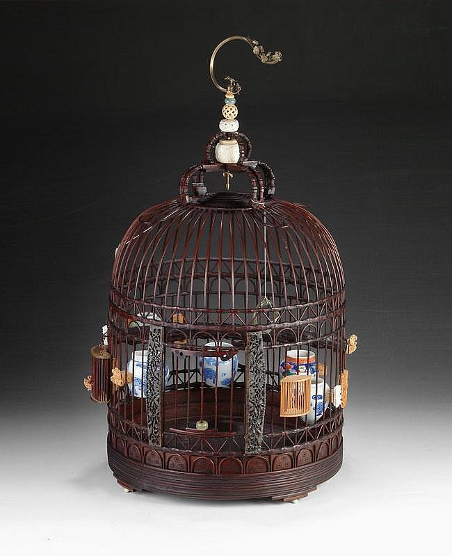 A CHINESE CIRCULAR BAMBOO BIRD CAGE