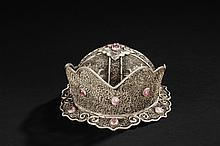 A SILVER FILIGREE OFFICIAL'S HAT INSET WITH PINK TOURMALINE