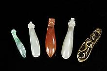 A SET OF JADE, JADEITE, AGATE, AND BRONZE DRAGON BELT HOOKS
