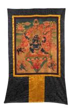 A FINELY EMBROIDERED THANGKA OF YAMANTAKA