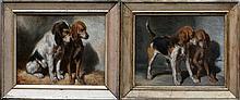 H.D. (XIX-XX ème s. )Portraits de Chiens, huile sur toile, monogrammé en bas à gauche,21X27