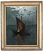 'Gaetano Bellei (1857-1922) ''Barca a vela'''olio