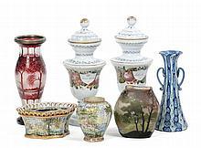 Lotto di vetri e ceramiche tra cui Legras St. Denis Vaso ovoidale schiacciato