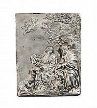 Placca in argento cesellato a bassorilievo con Sacra Famiglia e San Giovannino, inizio XVIII secolo