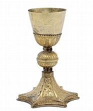 Calice in rame sbalzato e dorato, composto da elementi del XVI e XIX secolo