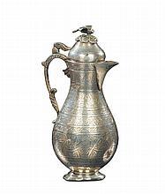 Versatoio in argento a corpo piriforme inciso, Arte Ottomana (Egitto) XIX secolo