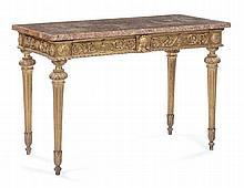 Console in legno intagliato e dorato con piano in broccatello, Toscana ultimo quarto XVIII secolo