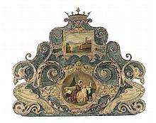 Testata di letto in ferro battuto dipinto e dorato, Napoli XIX secolo