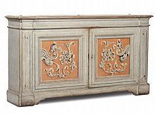 Credenza a due sportelli decorata a tempera, Emilia inizi XVIII secolo