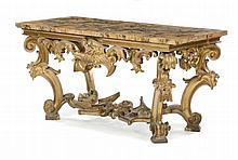 Grande consolle in legno intagliato e dorato, Roma prima metà XVIII secolo