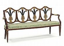 Divano e cinque sedie in legno intagliato in parte dorato e ebanizzato, Firenze fine XVIII secolo