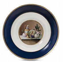 Piatto in porcellana policroma, Russia, periodo di Nicola I (1825/1855)